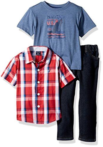 Nautica Baby Boys' Short Sleeve Button Up, Tee and Denim Pant Set, red Rouge, 12 Months
