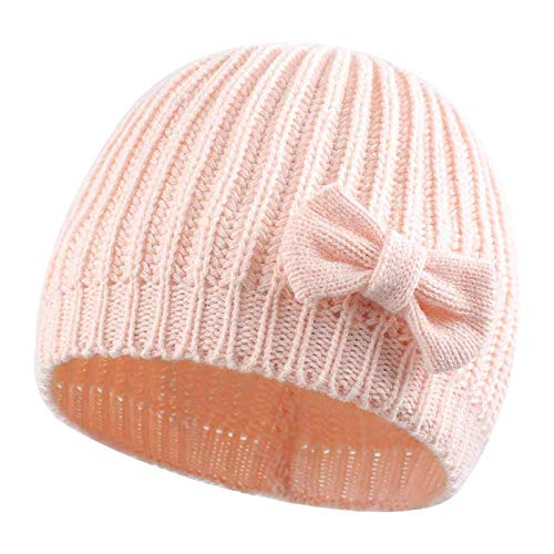 Baby Strickmütze,Unisex Baby Mütze Unifarbe Mütze Wintermütze Bowknot Baby Winter Geschenk Beanie Hüt für Kinder Jungen Mädchen, Rosa