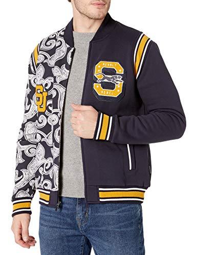 Sean John Men's Varsity Paisley Panther Split Track Jacket, Night Sky, S