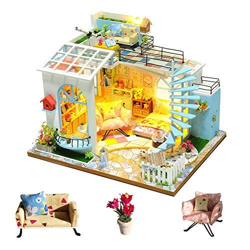 none-branded DIY Miniatur-Puppenhaus Kit zum Bau handgefertigter Mini-Villa mit Musik und Möbeln für Dekoration Kreative Handarbeiten Geschenke für Frauen (Mondlicht Dach)