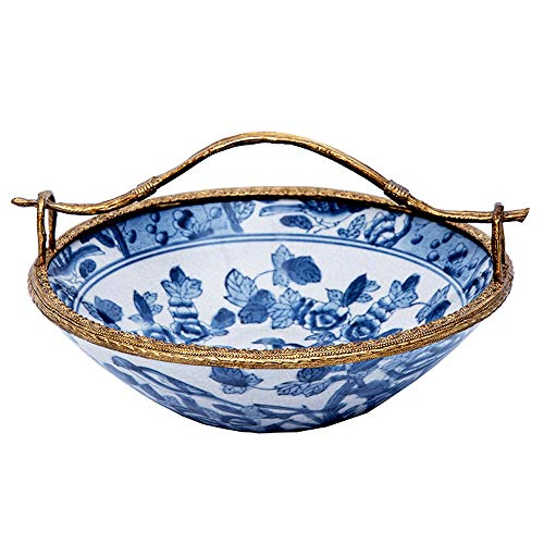 Fruitschaal, Chinese blauw en wit Luxe Ceramic fruitschaal, Verguld Trim, Household Gedroogd fruit plaat, Villa Living Room Storage Plate