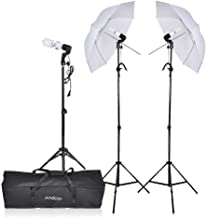 Andoer Photography Umbrella Lighting Kit, 5500K Video Portrait Bulbs with E27 Swivel Socket Three Stand Two Umbrellas and Carrying Case