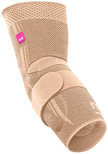 medi Epicomed - Ellenbogenbandage | sand | Größe V | Ellenbogen-Kompressionsbandage mit Silikon-Pelotte zur Stabilisierung und Entlastung des Gelenks | Beidseitig tragbar