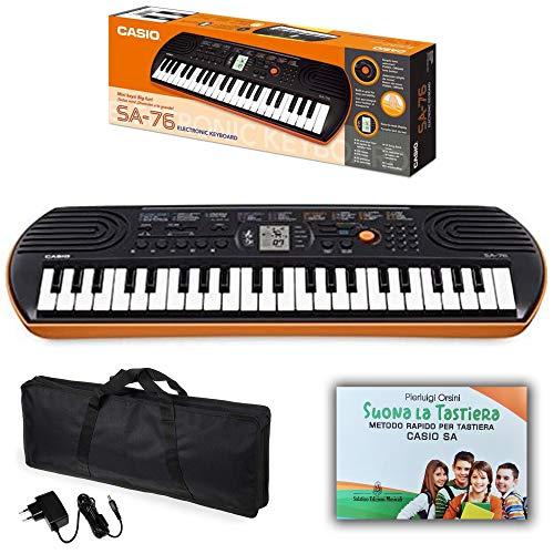 Tastiera Pianola Casio SA76 con Borsa, Alimentatore e metodo rapido'Suona la Tastiera'