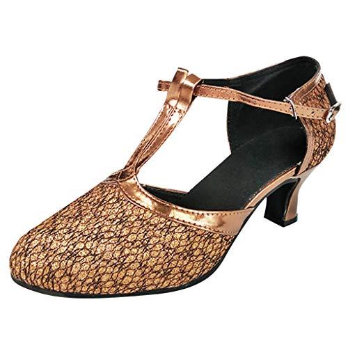 Damen T-Strap Pumps Standard Latein Tanzschuhe Mittelhohe mit Riemchen Geschlossen Knöchelriemen Weicher Boden, Tango Salsa Schuhe Elegante Schlüpfen Brautschuhe Celucke (Kaffee, EU40)