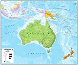 Australien / Australasien politische Wandkarte / Planokarte 120x100 - laminiert -