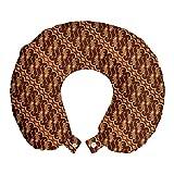 ABAKUHAUS marrón Cojín de Viaje para Soporte de Cuello, Indonesia Parang Barong, de Espuma con Memoria y Funda Estampada, 30x30 cm, Brown Albaricoque Caramel