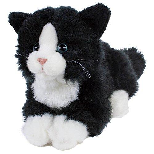 Leosco Kuscheltier Katze Kätzchen Kater Boots 22 cm (30 cm mit Schwanz) Plüschtier Plüschkatze schwarz/weiß