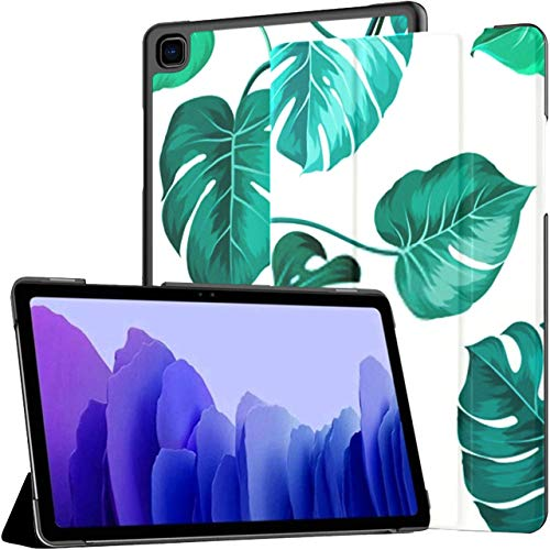 Funda para Samsung Galaxy Tab A7 Tablet 2020 de 10,4 Pulgadas (sm-t500 / t505 / t507), Hojas de Palma tópicas sobre Blanco, Soporte de múltiples ángulos sin Costuras, con activación/suspensión Auto
