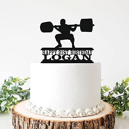 Powerlifting Squat - Decoración para tarta de boda de acrílico para hombre y cumpleaños de 6 pulgadas, para despedida de soltera, aniversario, cumpleaños.