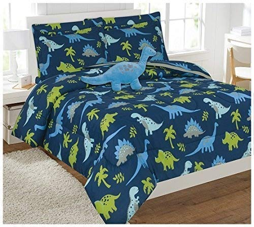 Fancy Linen 8pc Queen Size Dinosaur Blue Light Blue Grey Green Comforter Set with Furry Buddy Included # Dino Blue