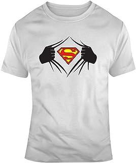 Superhero Ripping Open T-shirt, Superman Tee Blanco