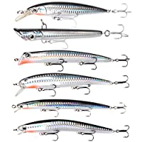 Dr.Fish Assorted 6 Jerkbait Minnow Plugs Popper 5in Hardbaits Kit Saltwater Lure Surf Fishing Striper Bass Redfish Mackerel Musky Black Silver