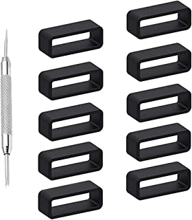 Adebena 10Packs Rubber Leather Watch Band Strap Loops Black Silicone Replacement Resin Watch Bands Keeper Holder Retainer Size 18mm 20mm 22mm 24mm with Removable Tools