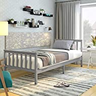Panana Single Bed Solid Wood Bed Frame 3ft White Wooden For Adults, Kids, Teenagers (Grey)
