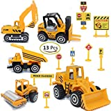 ZOHUMI Construction Toys Sets, 5 Pieces Mini Vehicles, Including Truck Forklift Bulldozer Road Roller...
