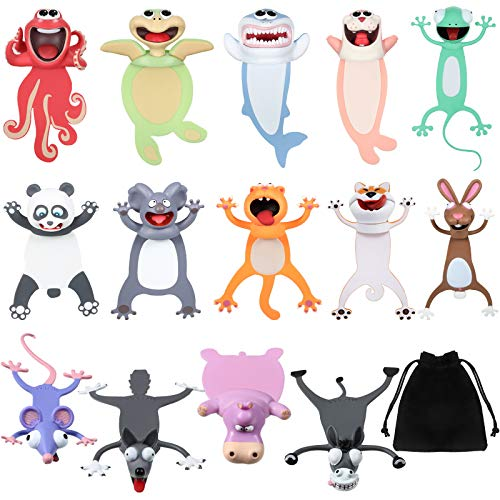 14 Pieces Wacky Ouch Bookmarks Animal Bookmarks 3D Bookmark for Kids Cartoon Christmas Bookmark Novelty Funny Stationery Birthday Party Favors for Student Teens Boys Girls Help with Reading