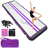 HIJOFUN Premium Air Inflatable Track 26ftx3.3ftx4in Gymnastics Tumbling Mat Inflatable Tumble Track with Electric Air Pump for Home Kids/Gym/Yoga/Training/Cheerleading/Outdoor/Beach/Park Purple Black