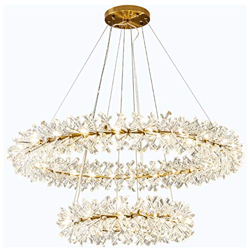 GSKJ Garland Crystal Chandelier,Postmodern Circular Ceiling Light,Simple Romantic Copper Pendant Lights,for Restaurants Living Room Lights-Gold Bronze (24+16inch)