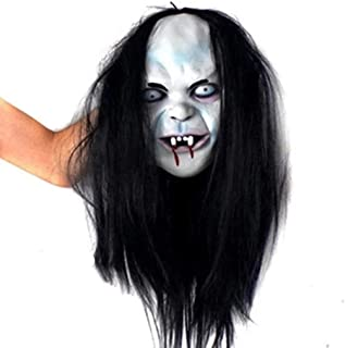 HUIMEIS AU Halloween Haunted House Horror Long Hair mask Scary Horror Mischievous Ghost Wig