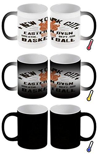 LEotiE SINCE 2004 Zaubertasse Farbwechseltasse Kaffeebecher Tasse Becher Latte Cappuccino Espresso Retro New York Basketball