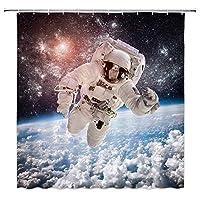 宇宙空間での冒険宇宙飛行士浴室の窓の装飾のための生地のホックが付いているポリエステル防水シャワー・カーテン60X72in