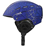 PHZ. Ski Helmet Snowboard Helmet for Men Women Youth Performance Safety w/Active Ventilation, Dial Fit, Goggles Compatible, Removable Fleece Liner and Ear Pads Snow Sport Helmets