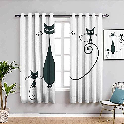 LucaSng Cortinas de Opacas - Blanco Abstracto Gato Animal - 280x160 cm para Sala Cuarto Comedor Salon Cocina Habitación - 3D Impresión Digital con Ojales Aislamiento Térmico Cortinas