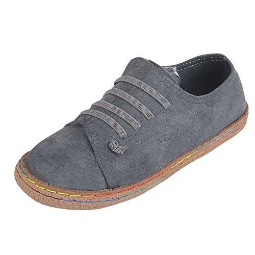 Stiefel Damen,Binggong Damen Weiche Flache Ankle Single Schuhe Weibliche Wildleder Schnürstiefel