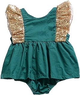 RONSHIN Baby Girls Lovely Sleeveless Backless Bowknot Sequin Romper