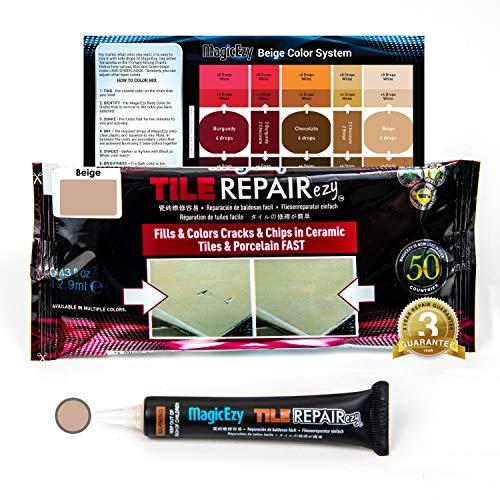 MagicEzy Tile REPAIRezy Fliesenreparatur: Absplitterungen und Löcher in Keramikfliesen schnell reparieren, dicke Fliesenfüllung, Reparaturset, beige