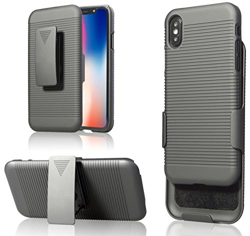 Zuzo iPhone X Belt Case with Rubberized Ribbed Texture and Swivel Belt Clip Kickstand [Supports Wireless Charging] for iPhone X / 10 (2017) (Black)