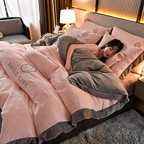 Shinon microfiber duvet cover king size,Teddy Fleece Duvet Cover with Pillow Case Thermal Fluffy Warm Soft Bedding Set-L_1.8m (6 feet) bed