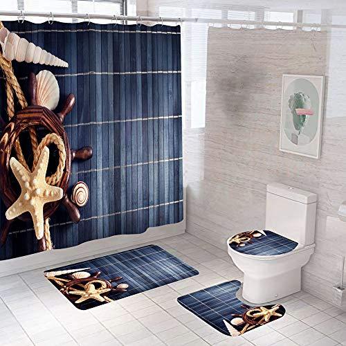 Hauunwey 4 Pcs Shower Curtain Set Blue Wood Board Starfish Bathroom Accessories Set with Non-Slip Rugs Toilet Lid Cover and Bath Mat Bathroom Decor Set
