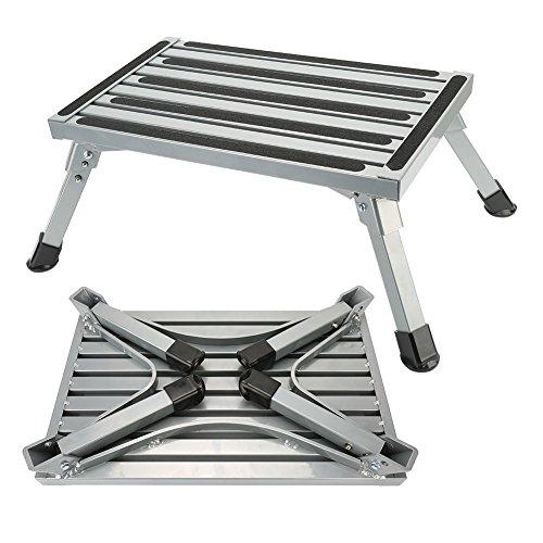 Step Stool Folding Aluminum RV Step Platform with Anti-slip Surface Sturdy Lightweight Maximum Load is 550 LB Perfect as RV Motorhome Trailer SUV Camper Extra Step
