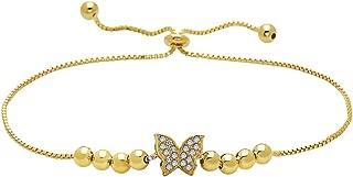 Gold Plated 925 Sterling Silver CZ Butterfly Adjustable Bracelet