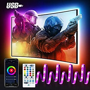Alexa Smart TV LED Backlights, Maxcio WiFi USB LED Light Strips for 40-60 Inch TV with IR Remote, RGB Music Sync Light Strips Alexa Google Home Control, Timer & DIY Scenes Color Changing Led Strip