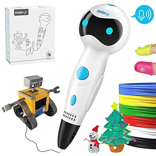 NULAXY 3D Penna, Penna di Stampa Disegno Robot 3D con Voce Intelligente, ricariche filamento PLA Alimentazione Automatica, Regalare per Compleanno, Giocattoli, Ispirare la creatività dei Ragazzi.