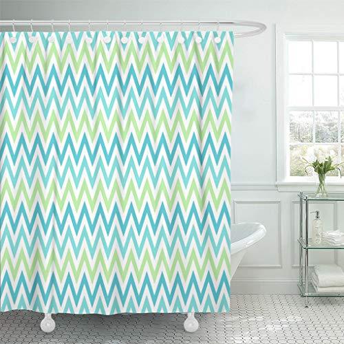 "Semtomn Shower Curtain Zig Aqua Blue and Lime Green Chevron Zigzag Zag 72""x72"" Home Decor Waterproof Bath Bathroom Curtains Set with Hooks"