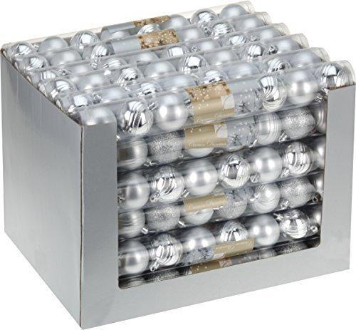 8 argento palline di Natale - ø 5 cm Matt poposh - albero di Natale
