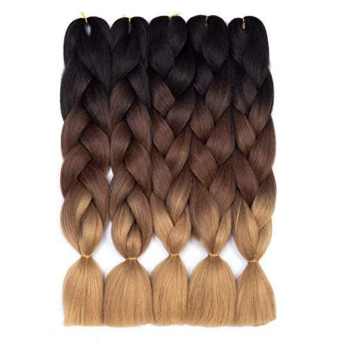Ombre Kanekalon Braiding Hair 5 Pack Ombre Jumbo Braiding Hair Extensions 24 Inch Jumbo Braid Synthetic Hair for Braiding (5 pack, Black-Dark Brown-Light Brown)