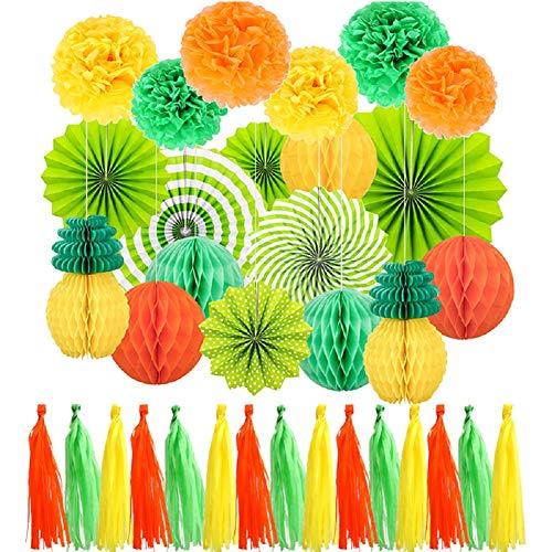 GPOWER お花紙 ペーパーファン ポンポン フリンジ せルラーボール 結婚式 誕生日 祭り 部屋 モール お祝い イベント パーティー 飾り付け34点 セット(オレンジ 緑 イエロー)