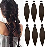 26'(65cm) SEGO 6PCS Extensiones de Pelo Sintético para Trenzas Africanas [Pre-Stretched EZ Braids] Cabello Se Ve Natural Braiding Twist Crochet Hair (540g,Castaño Chocolate)