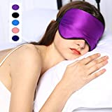 Silk Sleep Mask & Blindfold, Soft Eye Mask with Adjustable Head Strap, Deep Rest Eye Masks for Sleeping Night Eyeshade, Eye Cover for Travel, Shift Work & Meditation (Purple)