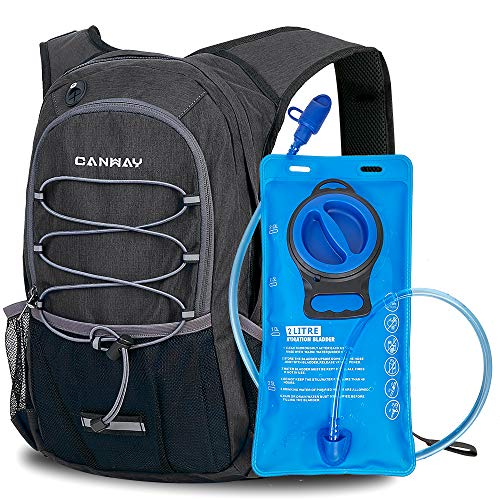 CANWAY Fahrradrucksack Trinkrucksack mit Trinkblase 2L BPA-freie Trinkrucksack zum Wandern, Laufen, Radfahren, Klettern, Outdoor, Regenschutz, 15-Liter(schwarz)
