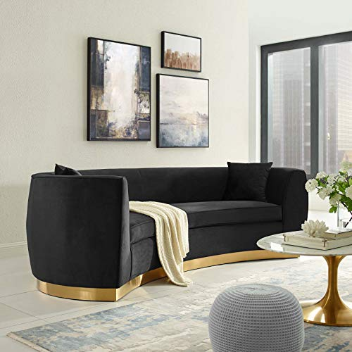 Modway Resolute Retro Modern Curved Back Upholstered Velvet with Two Throw Pillows, Sofa, Black