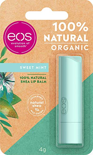eos Organic Stick Sweet Mint Lip Balm, feuchtigkeitsspendende Lippenpflege, mit frischem Minzgeschmack, für weiche Lippen, mit natürlicher Sheabutter, 4 g