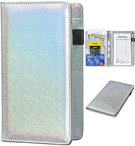 Server Books for Waitress - Glitter Leather Waiter Book Server Wallet with Zipper Pocket, Cute Waitress Book&Waitstaff Organizer with Money Pocket Fit Server Apron (Glitter Silvery)