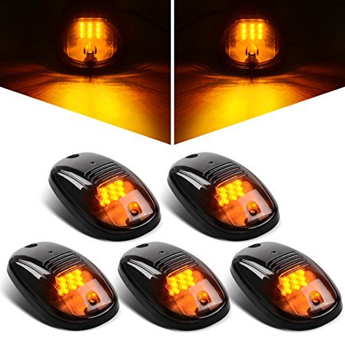 LED Cab Roof Running Marker Lights with Gasket Compatible with 2003-2018 Dodge Ram 1500 2500 3500 4500 5500 Pickup Truck Smoked 5Pcs