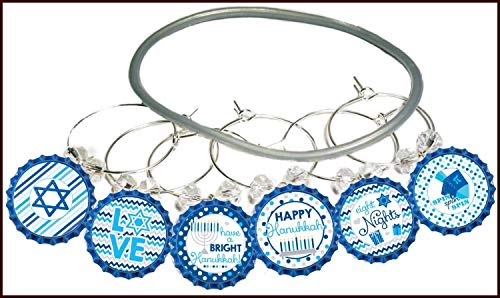 Hanukkah Wine Charms Gift, Menorah Wine Charms, Holiday Wine Glass Tag Identifiers, Hanukkah Party Supplies, Bottle Cap Wine Charms - 6 Pack